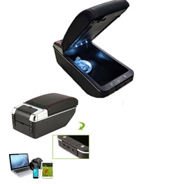 Universal 6 USB Arm Rest With LED - Black  | Center Console Storage Box | Center Console | Elbow Rest Arm Holder-SehgalMotors.Pk