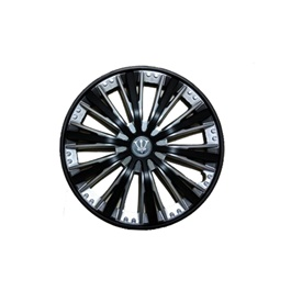 Wheel Cups ABS Black And Silver - 15 Inches
