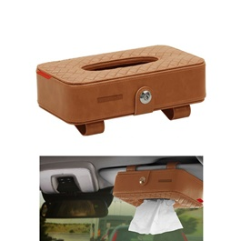 Car Sun Visor Facial Tissue Box - Brown | Tissue Holder | Modern Paper Case Box | Napkin Container Tray | Towel Visor Tissue Box-SehgalMotors.Pk