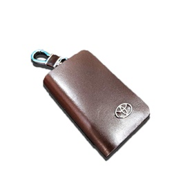 Toyota Glossy Zipper Leather Key Cover - Brown-SehgalMotors.Pk