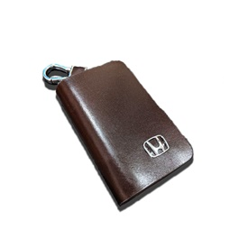 Honda Glossy Zipper Leather Key Cover - Brown-SehgalMotors.Pk