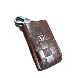 Honda Zipper Embossed Leather Key Cover Brown Style B-SehgalMotors.Pk