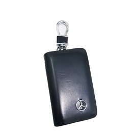Mercedes Glossy Zipper Leather Key Cover Black Pouch-SehgalMotors.Pk