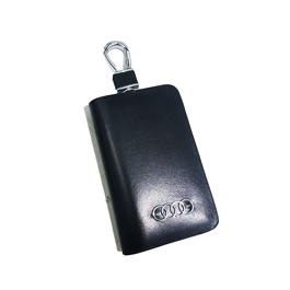 Audi Glossy Zipper Leather Key Cover Black-SehgalMotors.Pk