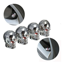 Skull Tire / Tyre Air Valve Nozzle Caps Chrome - 4 Pieces-SehgalMotors.Pk