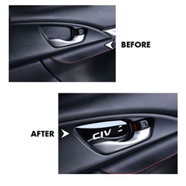 Honda Civic Interior Door Handle Bowl Trim Pad Sticker Black 4 Pcs- Model 2016-2019-SehgalMotors.Pk