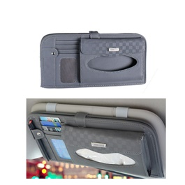 Multifunctional PU Leather Car Sun Visor Tissue Box Case - Grey-SehgalMotors.Pk