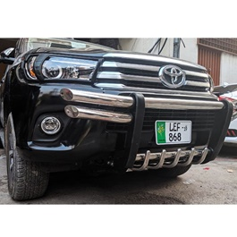 Toyota Hilux Revo Stainless Steel with Sides Double Pipe Front Bull Bar- Model 2016-2019-SehgalMotors.Pk