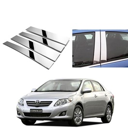 Toyota Corolla Door Pillar Chrome Trims - Model 2008-2012-SehgalMotors.Pk