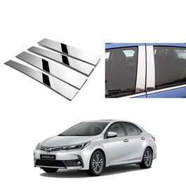 Toyota Corolla Door Pillar Chrome Trims - Model 2017-2020-SehgalMotors.Pk