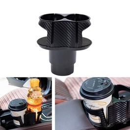 Car Carbon Fiber Console Dual Cup Holder - Black-SehgalMotors.Pk