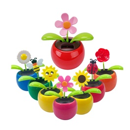 Solar Powered Moving Flower Car Dashboard Decor Each - Multi