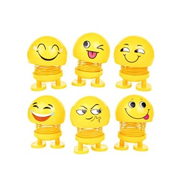 Bouncing Car Dashboard Smileys Emoji Emoticon Toy Mini - Pack of 6