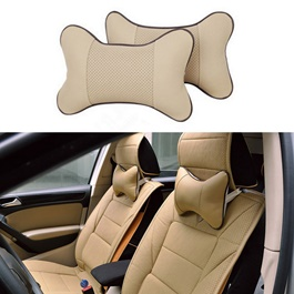 Car Headrest Pillow Leather Neck Super Soft Memory Foam Beige - Pair