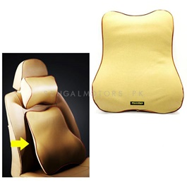 Maximus Back Rest Cushion Beige Soft Memory Foam Lumbar Support Back Massager Waist Cushion Pillow For Chairs in the Car Seat Pillows Home Office Relieve Pain-SehgalMotors.Pk