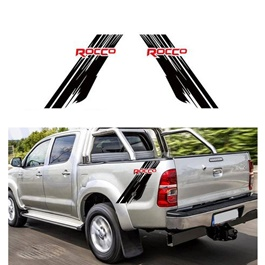 Toyota Hilux Rocco Graphics Vinyl Decal Car Styling Trunk Decor Sticker - Black and Red-SehgalMotors.Pk