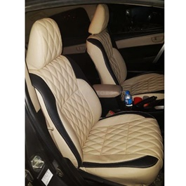 Toyota Corolla Seats Covers Beige With Black Strips Style B - Model 2017-2019-SehgalMotors.Pk
