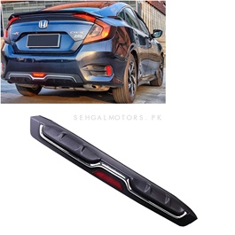Honda Civic Carbon Fiber Bumper Diffuser Single Exhaust with LED – Model 2016-2020-SehgalMotors.Pk