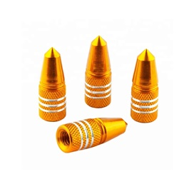 Tire / Tyre Air Valve Nozzle Caps Golden With Silver Lines- 4 Pieces	-SehgalMotors.Pk