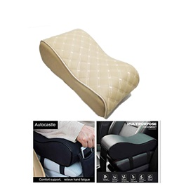 Universal Armrest Cushion Beige with Phone Holder | Car Armrest Cushion Pad | Car Seat Cover Auto Center Arm Rest Console Box Protective Mat-SehgalMotors.Pk