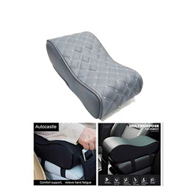 Universal Armrest Cushion Grey with Phone Holder | Car Armrest Cushion Pad | Car Seat Cover Auto Center Arm Rest Console Box Protective Mat-SehgalMotors.Pk
