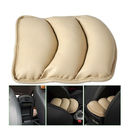 Universal Arm Rest PU Cushion - Beige | Car Armrest Cushion Pad | Car Seat Cover Auto Center Arm Rest Console Box Protective Mat-SehgalMotors.Pk