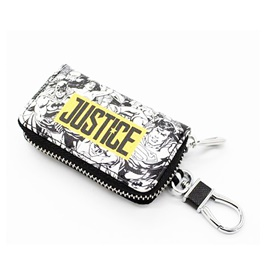 Justice Zipper Matte Leather Key Cover With Key Chain / Key Ring Pouch