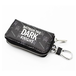 Dark Knight Zipper Matte Leather Key Cover With Key Chain / Key Ring Pouch-SehgalMotors.Pk