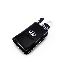 Hyundai Zipper Matte Leather Key Cover With Key Chain / Key Ring Black-SehgalMotors.Pk