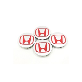 Honda Silver and Red Wheel Cap Logo - 4 Pc | Wheel Center Cap | Wheel Logo | Wheel Center Hub Caps | Wheel Dust Proof Covers Badge logo-SehgalMotors.Pk
