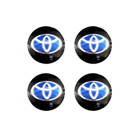 Toyota Wheel Cap Logo Black with Centre Logo Blue - 4 Pc-SehgalMotors.Pk