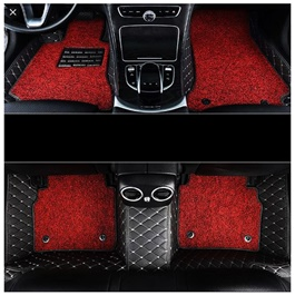 Toyota Land Cruiser 9D Floor Mats Black With Red - Model 2015-2018