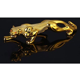 Jaguar Leopard Sculpture For Dashboard Decoration Purpose - Golden-SehgalMotors.Pk