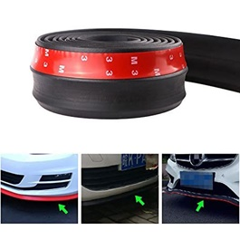 3M Adhesive Rubber Lip Protector - Black  | Rubber Bumper Lip Splitter Skirt Protector Strap | Car Sticker Rubber Splitter Auto Body Guard Skirt Cover-SehgalMotors.Pk