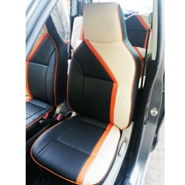 Suzuki Wagon R Leather Type Rexine Seat Covers Beige With Orange and Balck | Seat Covers | Universal Seat Covers | Leather Type Seat Covers-SehgalMotors.Pk