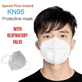 KN 95 Face Mask with Filter White | Protection against Coronavirus COVID 19 Virus Precaution Reusable Respiratory KN-95 KN95 Masks | with Filter Valve Each 1 Piece