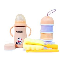 Portable Natural Baby Feeding Bottle Flask 3 in 1 | Brushes for cleaning | Milk formula dispenser | Best Infant Feeder-SehgalMotors.Pk