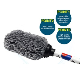 Jaesung Microfiber Mini Car Duster Korean | | Duster and Wash Brush | Dusting for Car | Black-SehgalMotors.Pk