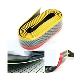 Rubber Lip Protector Carbon Fiber Black With Yellow Tip -SehgalMotors.Pk