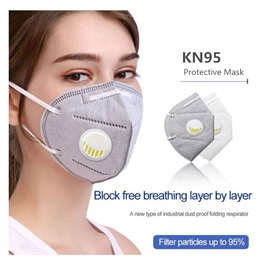 KN 95 Face Mask with Filter Protection Grey | With Filter Valve Each 1 Piece-SehgalMotors.Pk