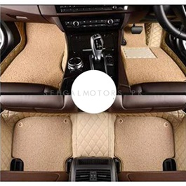 Toyota Land Cruiser LC200 9D Floor Mats Beige With Beige Grass - Model 2015-2018-SehgalMotors.Pk