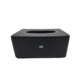 KIA Leather Car Tissue Box 9CM  Black | Tissue Holder | Modern Paper Case Box | Napkin Container Tray | Towel Desktop-SehgalMotors.Pk