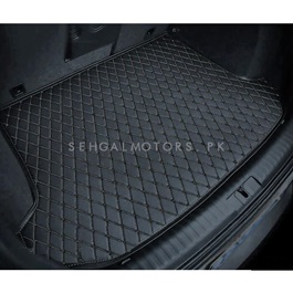 Honda FIT 7D Trunk Mat Black - Model 2013-2018 | Trunk Boot Liner | Cargo Mat Floor Tray | Trunk Protection Mat | Trunk Tray Cover Pad-SehgalMotors.Pk