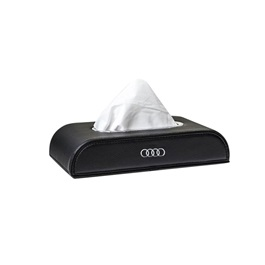 Audi Logo Car Tissue Box 5CM - Black | Tissue Holder | Modern Paper Case Box | Napkin Container Tray | Towel Desktop-SehgalMotors.Pk