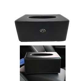 Hyundai Leather Car Tissue Box 9CM Black | Tissue Holder | Modern Paper Case Box | Napkin Container Tray | Towel Desktop-SehgalMotors.Pk