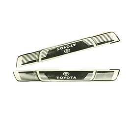 Toyota Logo Rubber Door Sill Plates Black And White | Door Protection Sill Plates