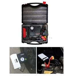 Car Multifunctional Car Battery Jump Starter With Tire Air Compressor | Emergency Jump Wire Car Starter with Tyre Inflator-SehgalMotors.Pk