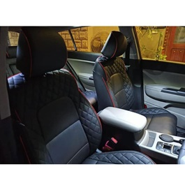 Hyundai Tucson Black With Red Lines Seat Covers - Model 2020 - 2021-SehgalMotors.Pk