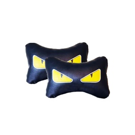 Dragon Eyes Logo Neck Rest Pillow - Pair | Car Seat Headrest Memory Cotton Soft Breathable Pillow Neck Support Cushion-SehgalMotors.Pk