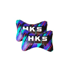 HKS Logo Neck Rest Pillow - Pair | Car Seat Headrest Memory Cotton Soft Breathable Pillow Neck Support Cushion-SehgalMotors.Pk